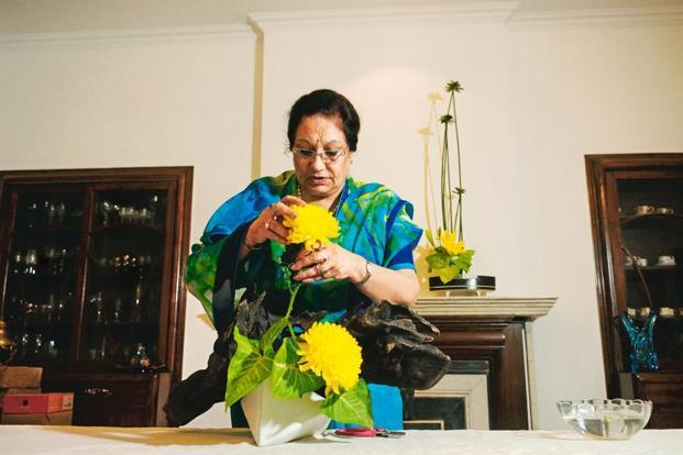 Veena Dass, one of the foremost exponents of the art in India, will be a speaker at the ikebana conference in Delhi. Photo: Pradeep Gaur/Mint